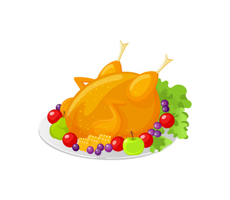 Turkey Thanksgiving traditional meat dish isolated icon vector. Meal served with apple, leaves and berries, tomatoes and grapes. Fruits vitamins food