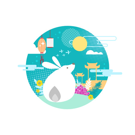 Legendary moon rabbit or bunny on hill for mid autumn festival decorative emblem. Flat vector myth character with chinese lantern and arch symbolic.