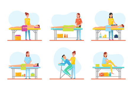 Massage Treatment of Clients on Tables Set Vector Illustration