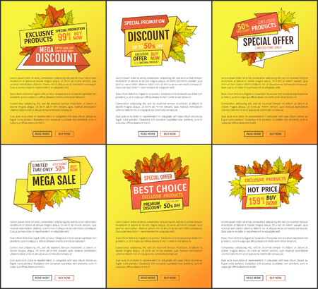 Sale adverts with autumnal foliage and orange leaves vector. Limited time buy now discount promo online posters set. Mega reduction of autumn fall prices Illustration