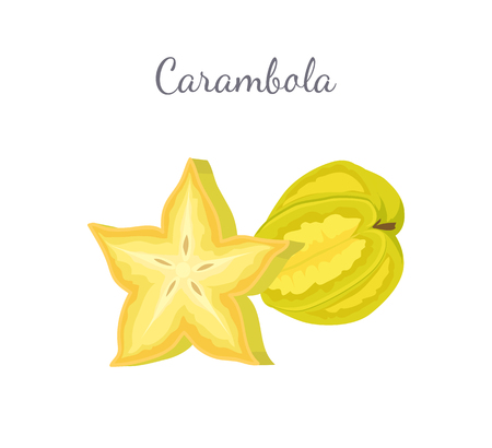 Carambola or starfruit exotic fruit whole and cut vector. Tropical edible food, dieting vegetarian icon full of vitamins, common star shape eatable plant