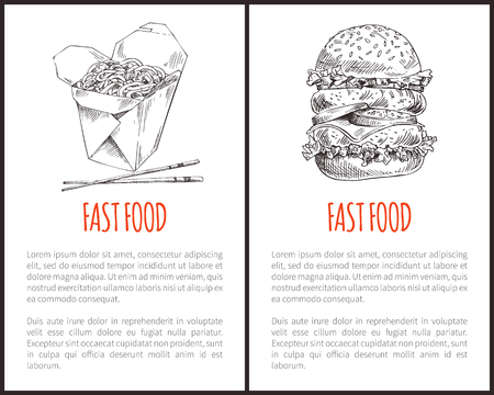 Fast food poster including chinese noodle box with chopsticks and big hamburger with different filling sketch. Takeaway depictions with text sample. Ilustração