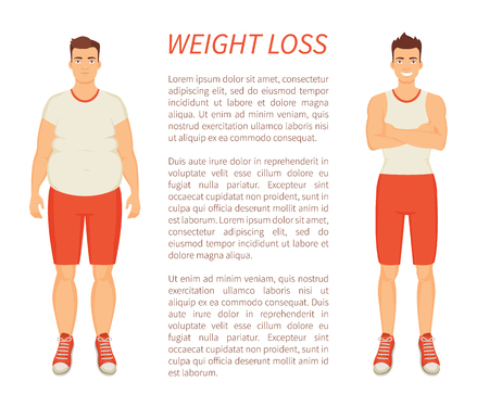 Weight loss man transformation poster with text sample vector. Healthcare and improvement of body strength, person change lifestyle with workouts