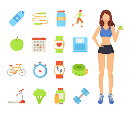 Woman sportive female isolated icons set. Lady with apple and broccoli, bottle of water and bcaa vitamins. Treadmill and wristbands, dumbbells vector Illustration