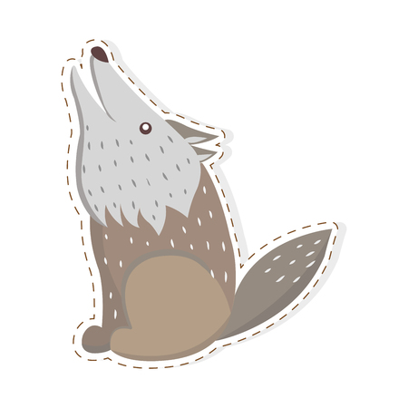 Cute funny grey howling wolf vector flat cartoon sticker or icon outlined with dotted line isolated on white. Wild predatory animal illustration for game counters, price tags