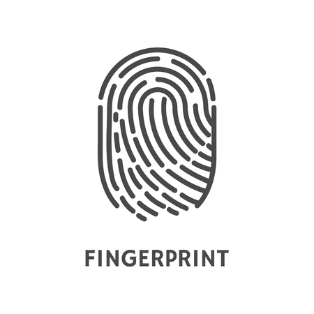 Fingerprint print of human finger poster with text vector. Id identification and thumbprint, privacy unique pattern left by hand. Recognition of trace