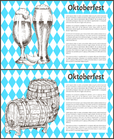 Oktoberfest Posters Set Keg of Beer and Ale Glass