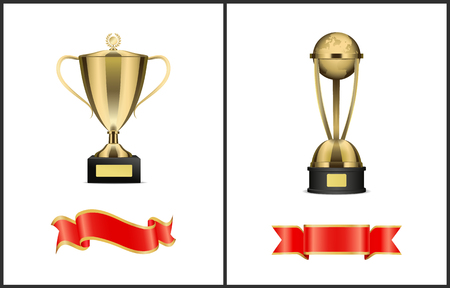 Vector triumphal cup with handles and laurels and planet statuette on stand. Contest winner golden award and stripes for inscription isolated set.