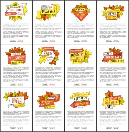 Autumn season discounts on Thanksgiving vector web pages set. Hot price exclusive products buy at super promo price posters with oak and maple leaves, text Stock Vector - 127385967