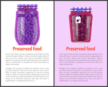 Preserved Food Poster Canned Plums and Blueberries