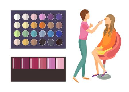 Visage Make-up der Kundenfrau, die im Sessel des Schönheitssalons sitzt. Lidschattenpalette mit verschiedenen Schattierungen und Farben. Visagiste Arbeitssatzvektor