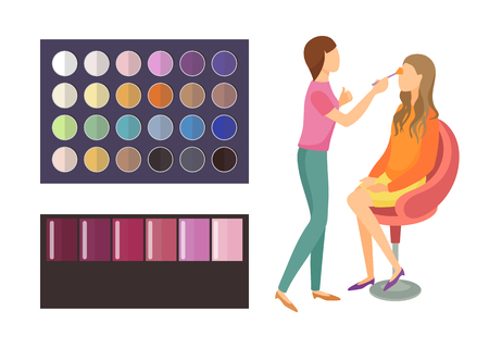 Visage makeup of client woman sitting in armchair of beauty salon. Palette of eyeshadow with different shades and colors. Visagiste working set vector
