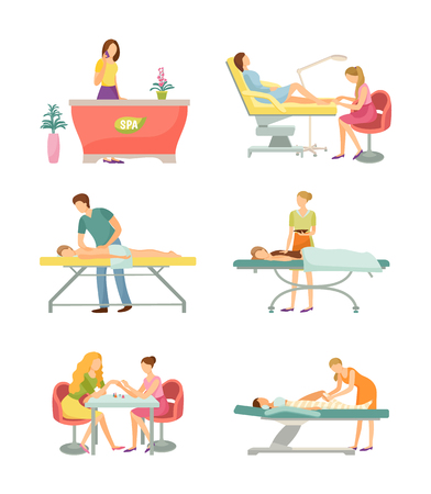 Spa salon receptionist talking on phone and pedicure toes care set of isolated icons vector. Massage and manicure, body wrap and chocolate relaxation