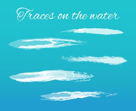 Traces on water poster with splashes and text vector. Abstract lines left on surface because of transport of vessel. Brush design effects and elements