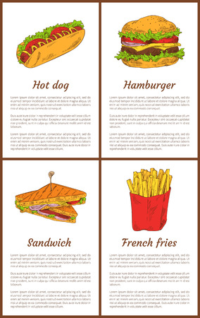 Hot dog and salty potatoes french fries in package set. Fast food sandwiches and hamburger with vegetables and bun hight in fat vector illustration