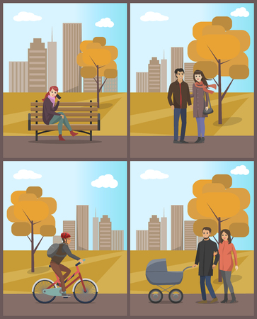 Couples and Biker Woman with Phone Set Vector