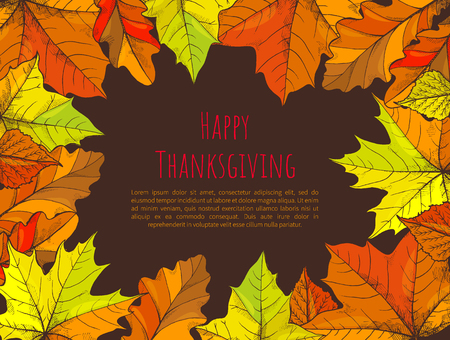 Happy Thanksgiving Poster with Text Leaves Vector