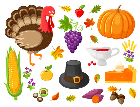 Turkey and Pumpkin Products Thanksgiving Vector Imagens - 112716992