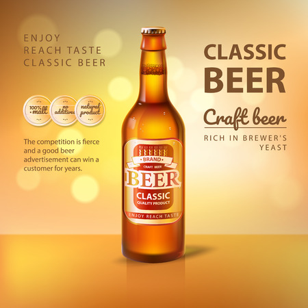 Craft Beer in Glass Bottle Promo Poster of Brewery 写真素材
