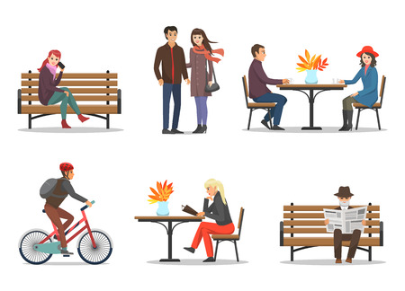 Autumn Period and Autumnal Activities Set Vector Banque d'images - 112716996