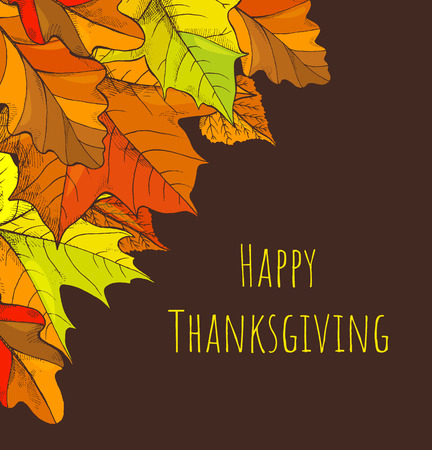 Happy Thanksgiving Holiday Fall and Leaves Vector Stock Photo