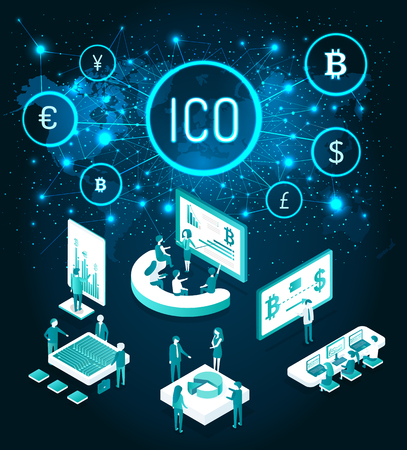 Ico Start Up and Meeting of Workers Set Vector Imagens