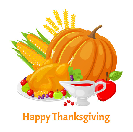 Happy Thanksgiving Poster with Pumpkin Vector Stock Photo