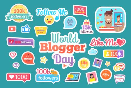 World Blogger Day Follow Me Button Set Vector