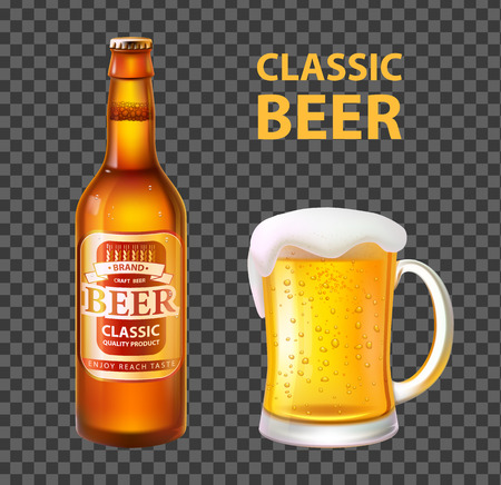 Beer in Bottle and Mug Isolated Realistic Vector