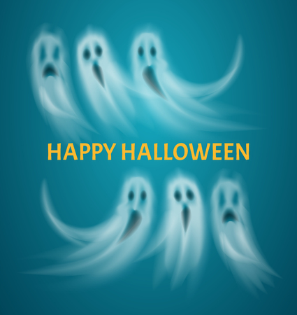 Happy Halloween poster with text flying ghosts vector. Floating ghostly creatures, apparitions with evil look and sad expression. Scary poltergeists Illustration