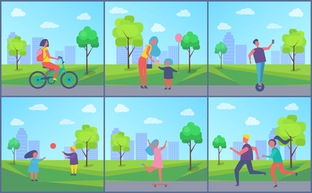 People playing and resting in park cartoon vector banner set. Children running and playing games, girl riding bike and on skateboard, active leisure Иллюстрация