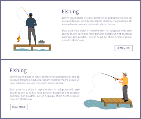 Fishing fisherman with rod on platform vector illustration. Standing fishers with tackle box in hat, catching fish isolated on white, sport theme.