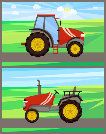 Tractor machines on fields vector. Transports driving on ground, agri motors used in agriculture and farming. Husbandry vehicles for soil cultivation