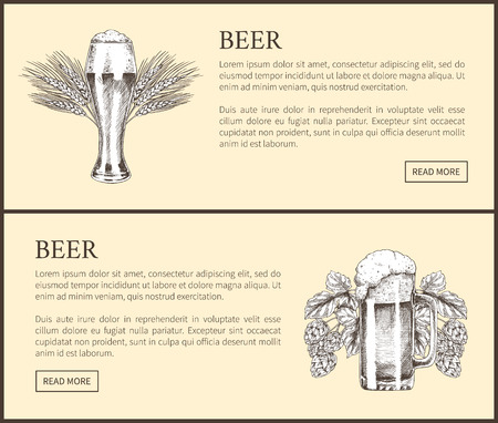 Wheat Beer Glass And Hopped Drink Mug Landing Page Illustration