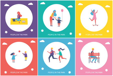 People in park resting and have fun in cartoon style icons vector banner set. Children running and playing game, relaxing on rug and riding skateboard