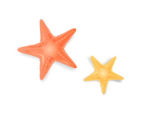 Starfish sea stars closeup isolated icons vector set. Star-shaped creature dwelling in sea or ocean, organism with dotted edges of red yellow color Çizim
