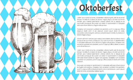 Traditional Oktoberfest flag backdrop with text sample and beer refreshing drink mug and glass vector illustration in sketch style for advertisement.