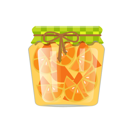Sliced oranges canned in small glass container with rustic textile decorated and tied lid. Exotic citrus homemade conservation vector illustration.