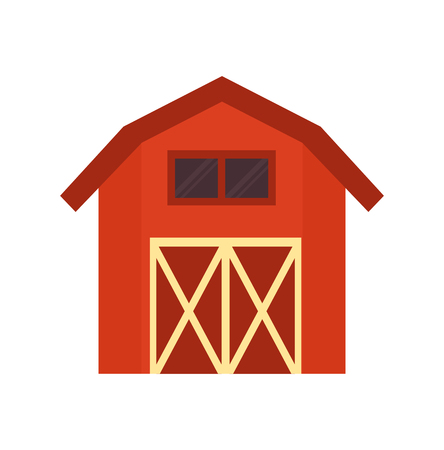 Red barn wooden building, storage room for grain, stock and hay warehousing. Farm or ranch arrangement flat vector illustration in cartoon style.