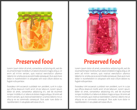 Preserved food poster sliced oranges and raspberries canned in small glass container. Exotic citrus and sweet berries homemade conservation vector Illustration