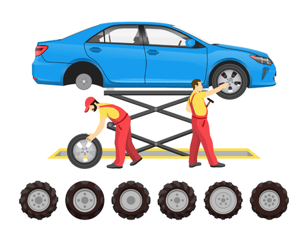 Tire service, vector emblem in cartoon style. Workers in uniform repairing car on platform over trestle with equipment, changing wheels, job theme Illusztráció