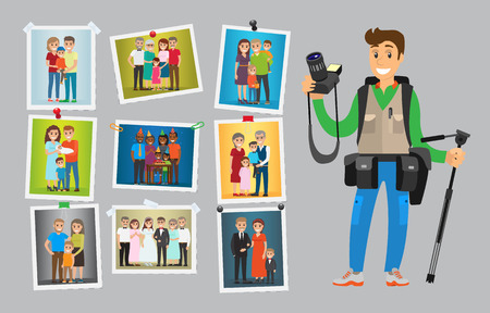 Photographer with digital camera taking photo. Man making pictures of weddings, birthdays and corporate parties. Samples of his works hanging on wall vector