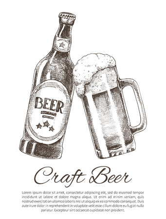 Craft Beer Bottle and Glass Promo Poster with Text
