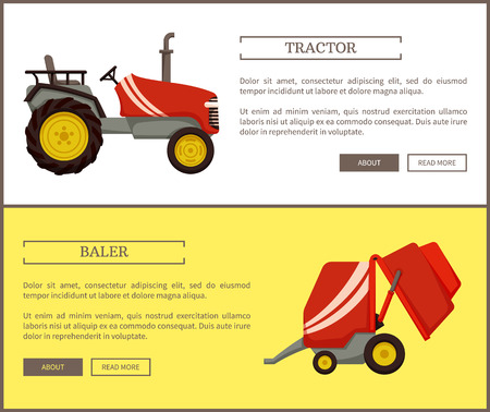 Baler and tractor machines posters. Vehicle for driving and transporting things, agricultural machinery. Mechanized working on farm , farming vector