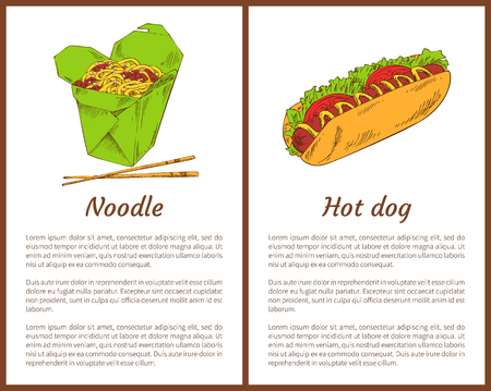Noodle served with chopsticks and hot-dog with sausage, tomatoes and salad leaves. Asian meals fastfood services set vector illustration. Take away food