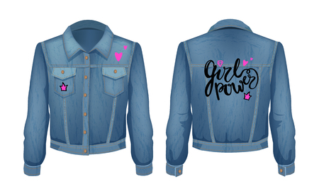 Girl power denim jacket with heart and crown patches. Jeans chirt clothing for fashionable women. Wamus with pockets isolated on vector illustration