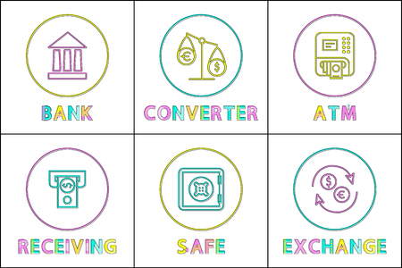 Bank and fund safe, converter scales and currency exchange, automatic teller machine and receiving money line art icons bank facility illustration set.