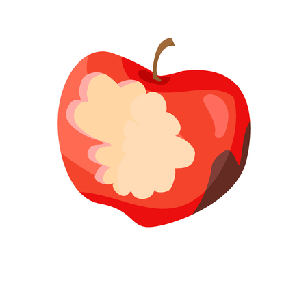 Dirty Apple Nibbled Fruit Vector Illustration Stok Fotoğraf