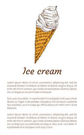 Nice Ice Cream Cone Promo Poster with Text Sample Фото со стока