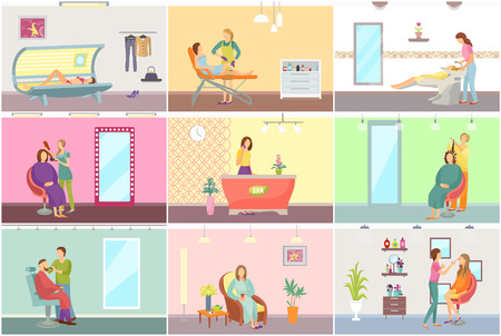 Spa Salon Tanning and Receptionist Set Vector Stockfoto